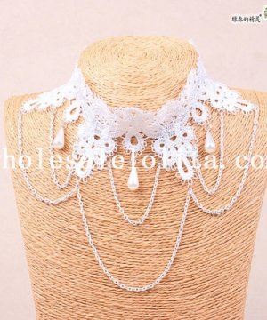 Fashion Women's White Lace Collar Choker Pearl Pendant Necklace for Prom