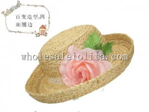 Leisure Countryside Natural Raffia Straw Flower Ladies Sun Protection Hat