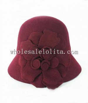 Ladies Spring/Autumn Wine Red Wool Small Brim Hat