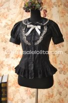 Ladies Black Cotton Doll Collar Short Sleeves Sweet Lolita Blouse