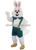 Alpine Bunny Mascot Costume in Green Clothing
