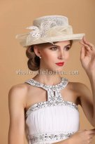 Elegant British Style Vintage Beige Feather Small Brim Ladies Hat