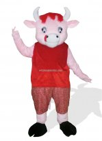 Cattle In Red Clothes Plush Farm Animal Costume