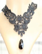 Gothic Black Diamond Lace Lolita Necklace MTN08