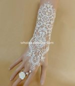 Pure White Bride Lace Pearl Gloves Wedding Dress Mittens Bridal Bracelet & Ring