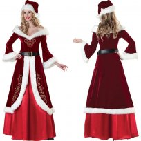 Top Sale The Queen's Christmas Role-playing Long Sleeve Outfit Wine velvet Dress