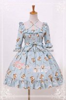 Magic Tea Party Lovely Bear Printing Cotton OP Lolita