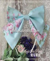 Elegant Light Blur Floral KC Big Bow Lolita Headband
