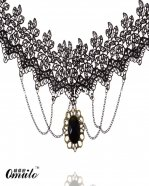 Fashion Elegant Black Lace Chain Necklace Pendant for Prom