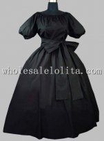 Gothic Black Cotton Victorian Era Dress with Removable Collar