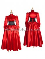 Long Sleeves Red Taffeta Gothic Victorian Style Gown