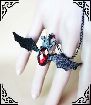 Gothic Black Bat Lace Halloween Bracelet & Ring