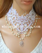 Elegant White Lace Pearl Pendant Chain Necklace for Bride/Bridesmaid Accessory