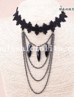 Handmade Black Lace Collar Choker Hotsale Necklace with Gem Pendant Chain