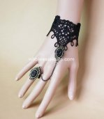 Pure Black Lace Gothic Lolita Bracelet & Ring