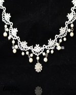 Graceful White Lace Pendant Necklace Chain for Prom