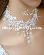 Beautiful Pearl Pendant Fashion White Lace Flower Collar Choker Necklace for Women