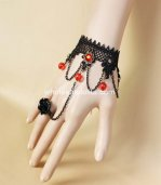 Gothic Black & Red Lace Ladies Bracelet & Ring