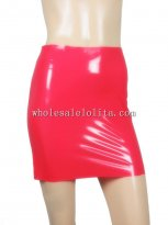 Rubber Latex Red Over Hip Skirt