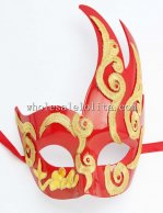 Party Cigno Red Venetian Masquerade Balls Mask with Gold Pattern