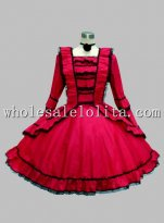 Long Sleeves Wine Red Cotton Knee Length Gothic Lolita Dress