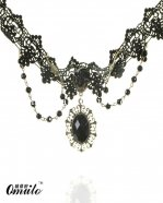 Elegant Black Vintage Lace Pendant Necklace with Gem for Cosplay