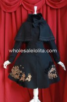 Christmas Gift Box Embroidery Black Winter Lolita Coat with Cape