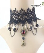 Women's Handmade Ruby Spider Pendant Black Lace Collar Choker Necklace