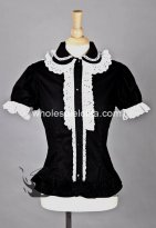 White Lace Black Short Sleeves Lolita Blouse