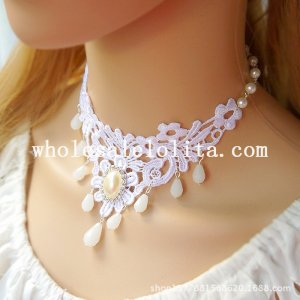 Women's Graceful White Lace Collar Choker Pearl Pendant Chain Necklace