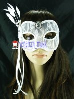 Transparent White Lace Set Auger Masquerade Mask