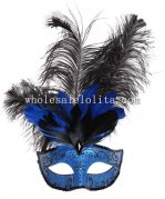 Cosplay Masquerade Mask in Blue and Black Color with Diamond and Feather for Adult and Child