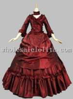 Wine Red Victorian French Bustle and Swag Dress Ball Gown Reenactment Clothing