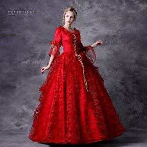Halloween Red Dress Baroque Victorian Dress Victorian Women Dress Period Dress Ball Gown