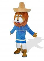 Adult Lion Mascot with Straw Hat