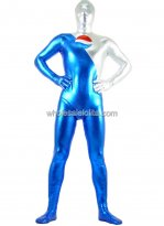 Silver And Blue Shiny Metalic Zentai Suit