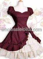 Burgundy Short Sleeves Ruffle Bow Cotton Classic Lolita Dress