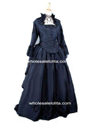Gothic Black 2-Pieces Victorian Bustle Period Dress Halloween Themed Costume