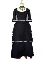 Black Victorian Period Dress Half Sleeves Gown Victorian Bustle Dress