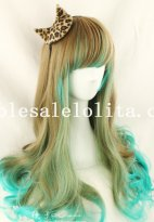 Beautiful Japan Harajuku Wavy Long Beautiful Anime Full Wig Mixed Color