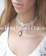 Women's Handmade Pearl Pendant White Lace Necklace for Bride/Bridesmaid Accessory