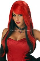 Halloween Black & Red Fancy Dress Costume Party Devil Cosplay Wig