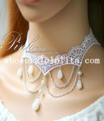 Sexy White Lace Pearl Pendant Chain Necklace for Women's Gifts