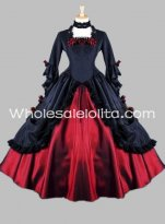 Gothic Victorian Black and Red Vampire Masquerade Ball Gown Halloween Costume
