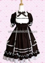 Hot Sale Black Lace Short Sleeve Gothic Lolita Dress