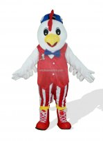 White And Red Stripes Chicken Plush Adult Monster And Fantasy Costume