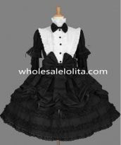 Black and White Removable Sleeves Gothic Lolita Dress Costume