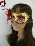 Manual Red Gold Costume Party Mask