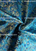 High-grade Tapestry Royal Gorgeous Blue and Yellow Flower Brocade Fabric