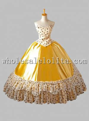 Yellow Dotted Victorian Inspired Ball Gown Female Venice Carnival Costume
